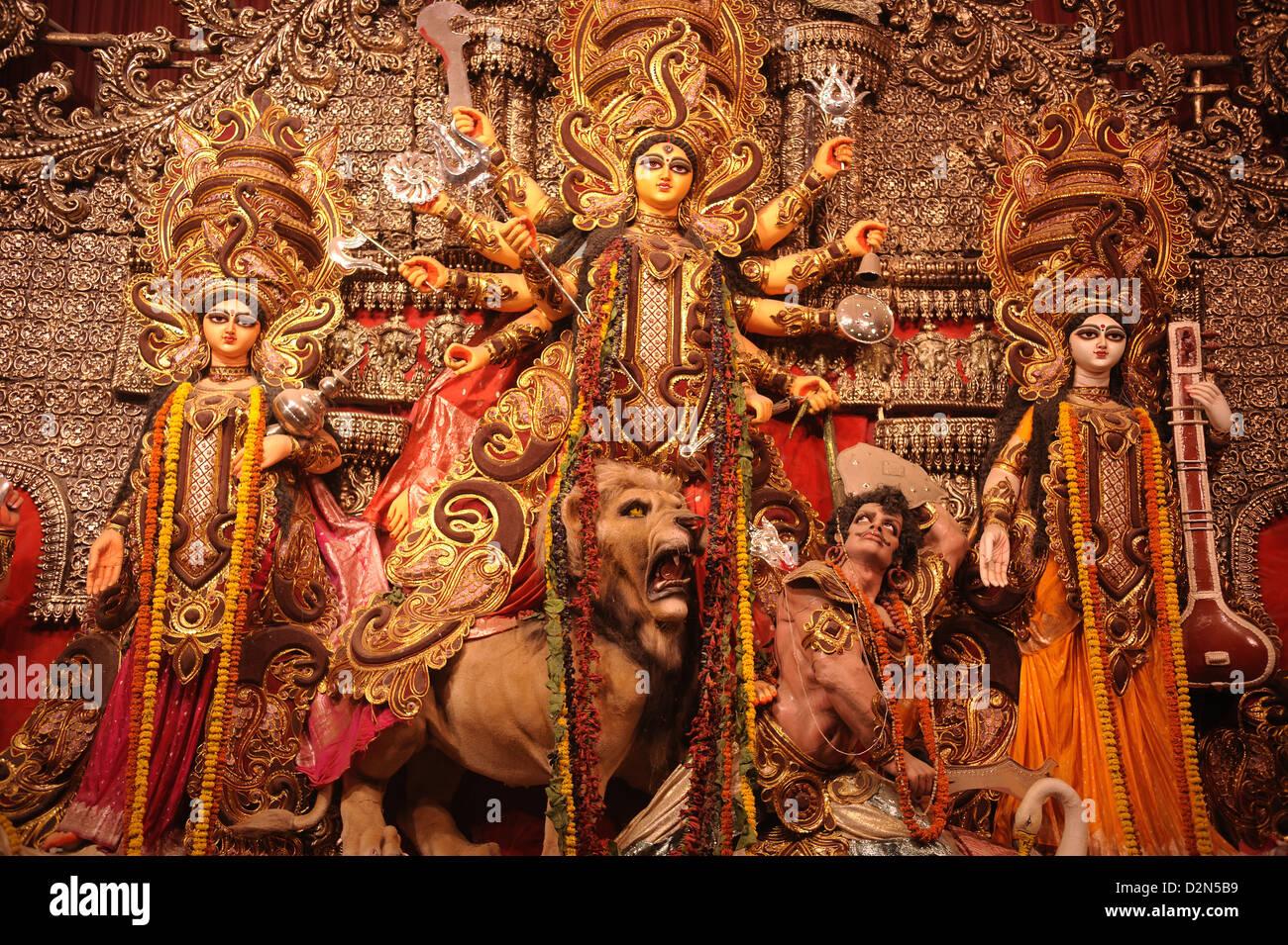 Goddess Durga statue during Durga Pooja, Kolkata, West Bengal, India, Asia - Stock Image