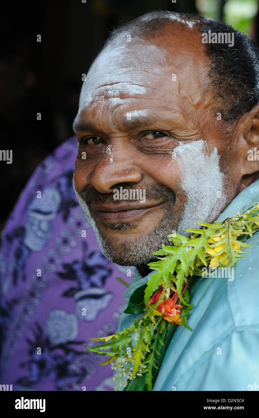 A Fijian getting ready for the traditional Kava Ceremony, Sitka, Fiji, South Pacific, Pacific - Stock Image