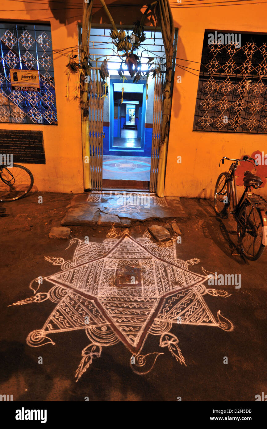 Kollam or rangoli in front of the house, Srirangam, Tamil Nadu, India, Asia Stock Photo