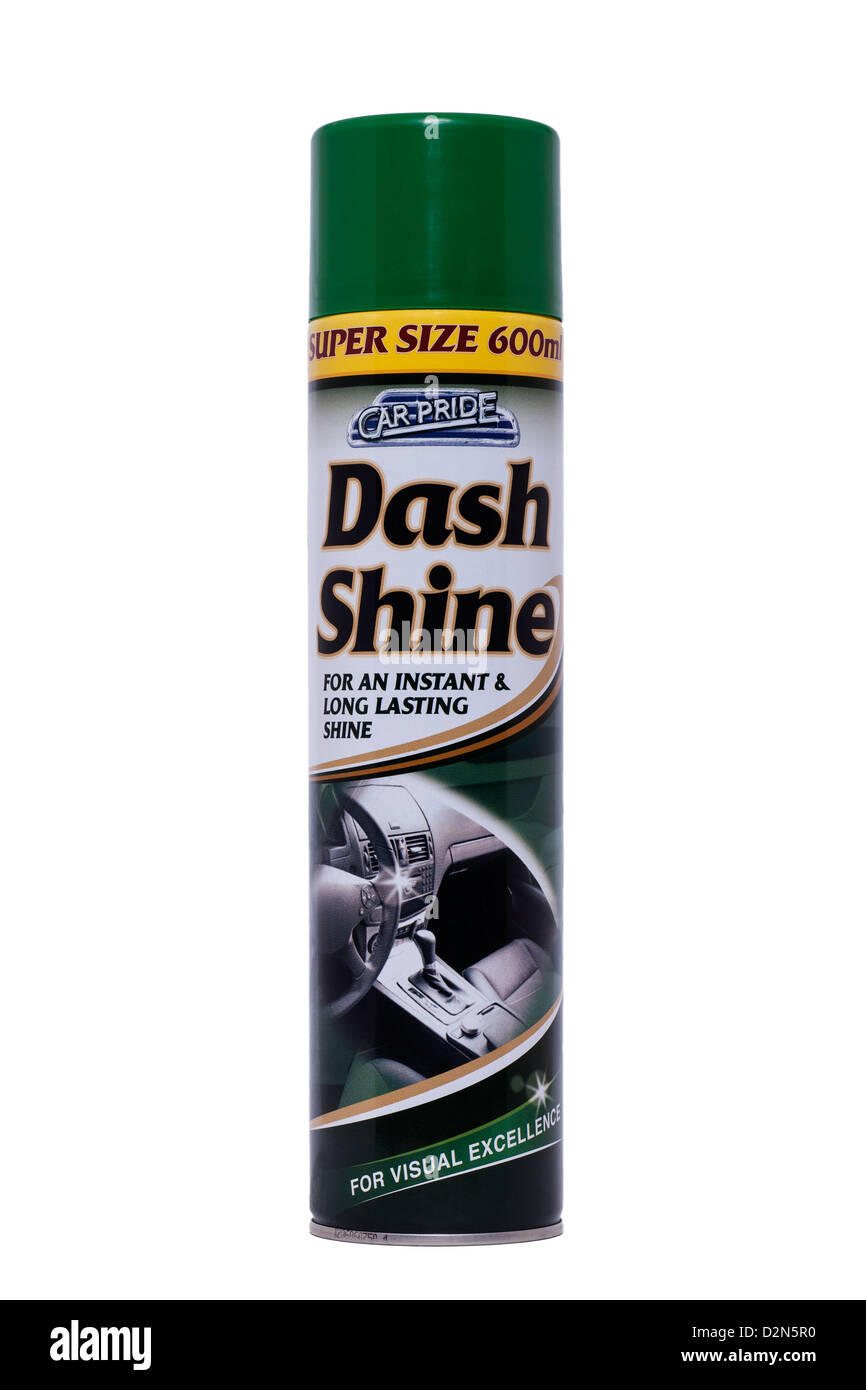 A can of Car Pride Dash Shine for polishing car dashboards on a white background - Stock Image