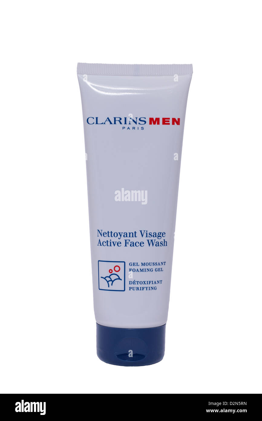 A tube of Clarins men nettoyant visage active face wash gel on a white background - Stock Image
