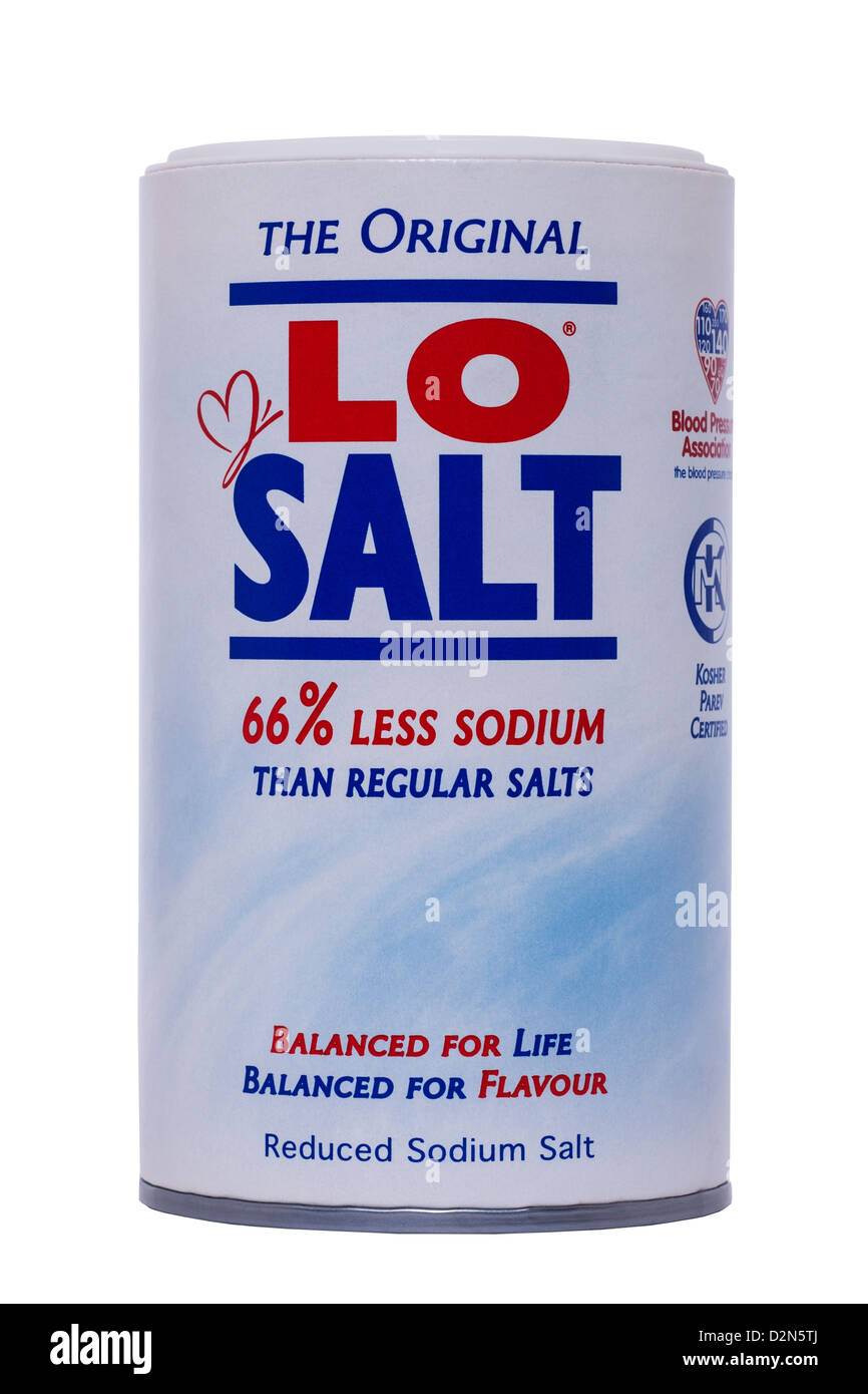A tub of Lo Salt reduced sodium salt on a white background - Stock Image