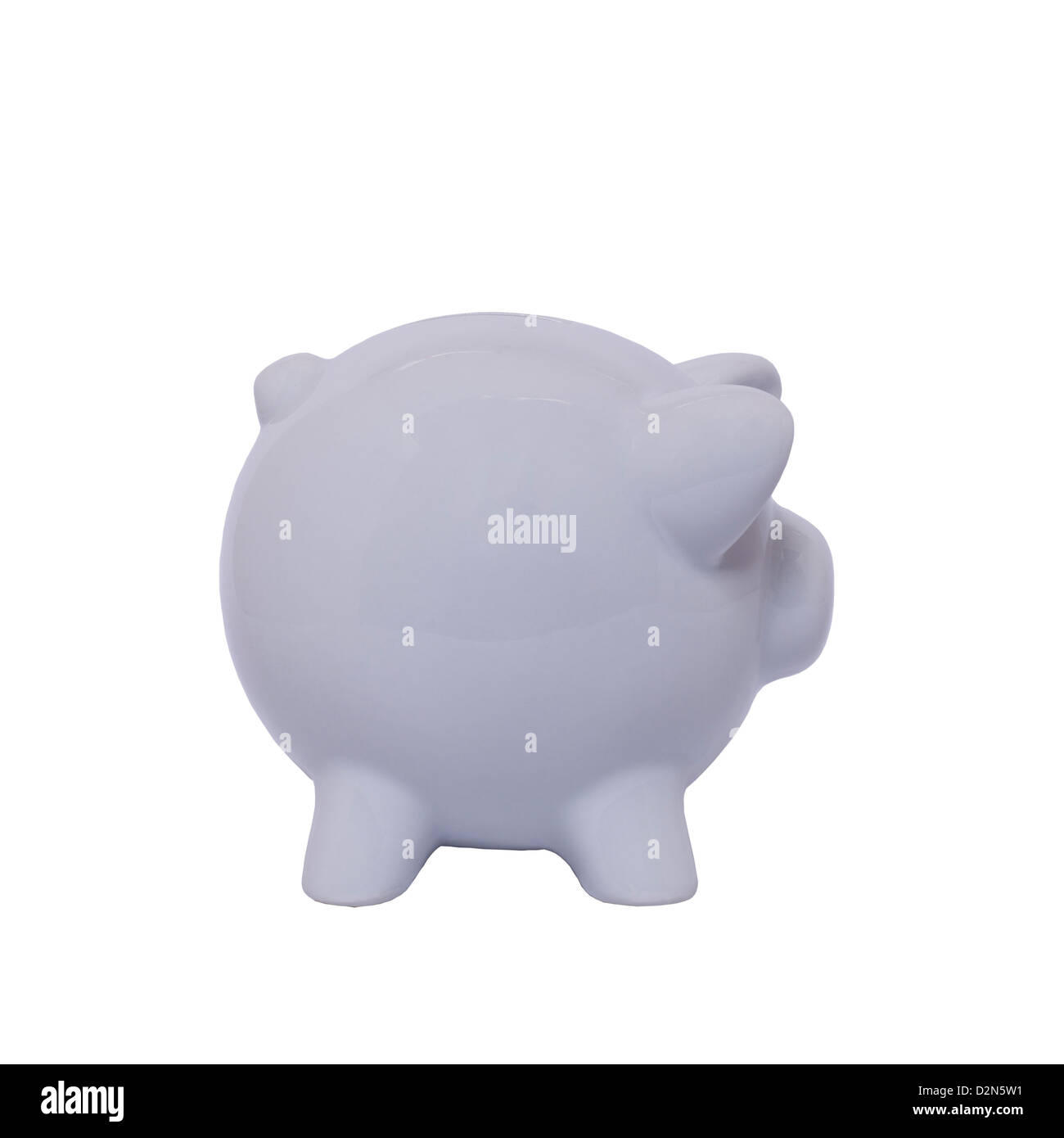 A white piggy bank on a white background - Stock Image