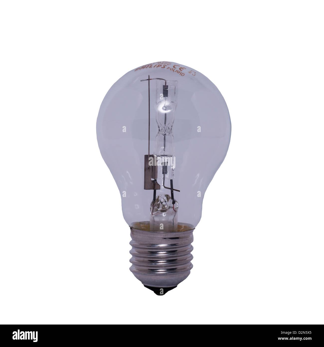 A Philips EcoClassic 70 watt halogen lightbulb on a white background - Stock Image