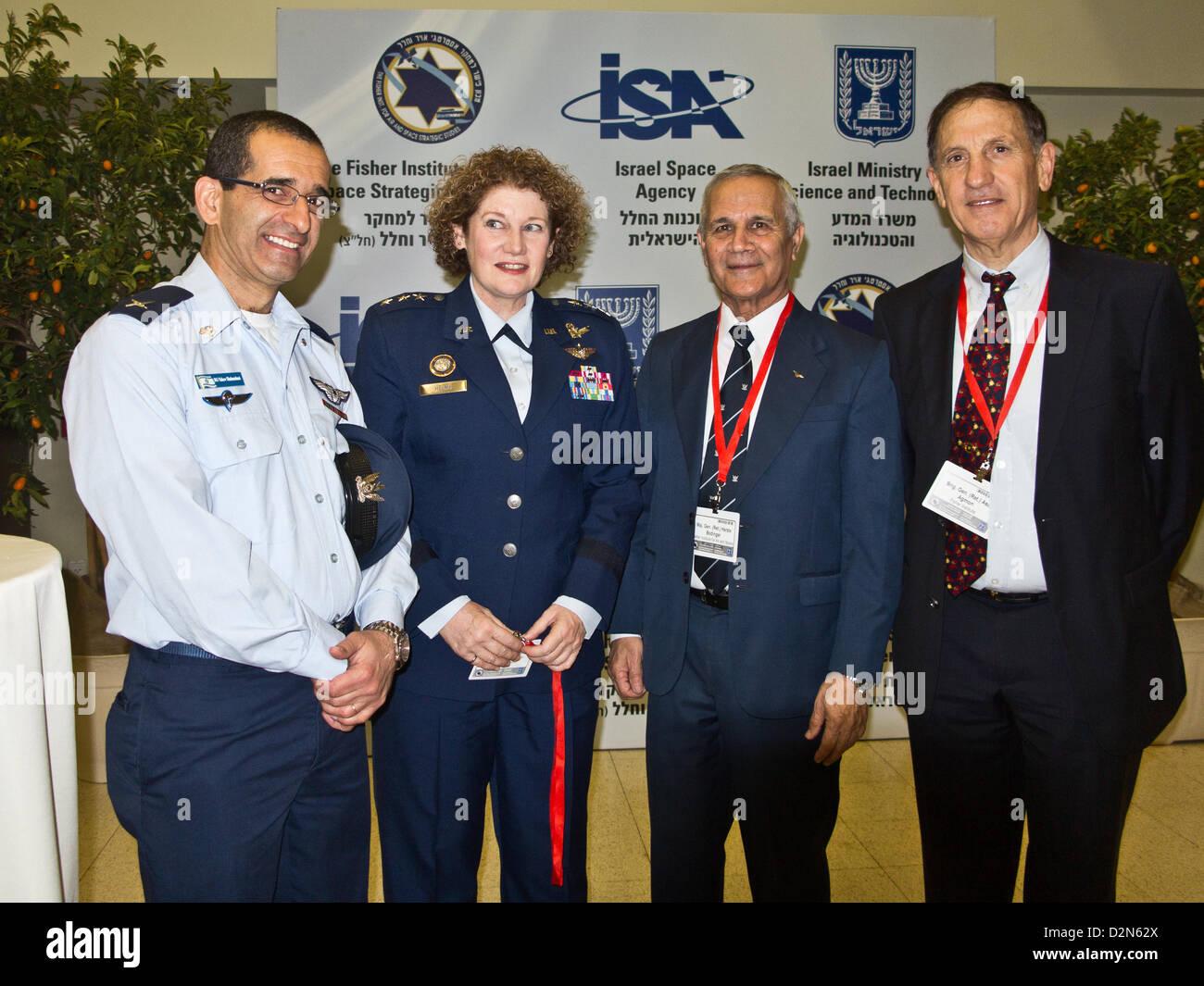 Right-to-left; IAF Ret. Brig. Gen. Asaf Agmon, IAF Ret. Maj. Gen. Herzl Bodinger, Lieut. Gen. Susan Helms, Commander Stock Photo