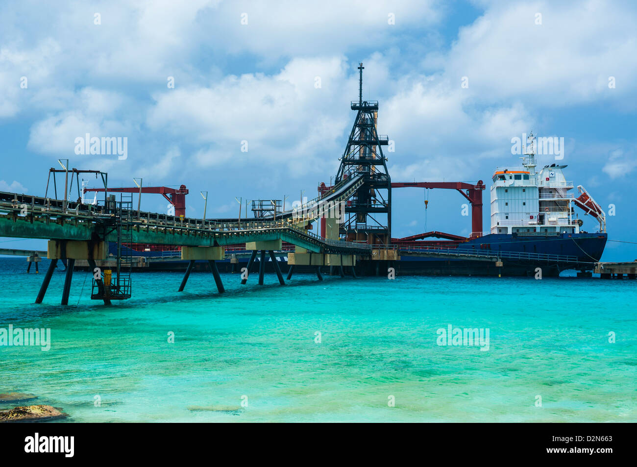 Freighter being loaded with salt in Bonaire, ABC Islands, Netherlands Antilles, Caribbean, Central America Stock Photo