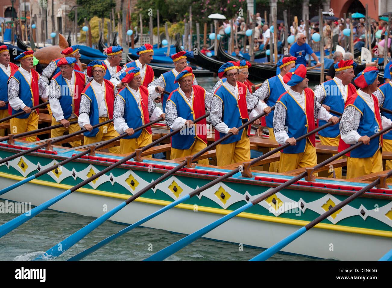 Regata Storica di Venezia, the most important traditional event in Venice, UNESCO World Heritage Site, Veneto, Italy, - Stock Image