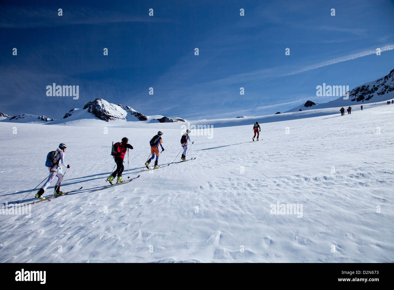 Ski touring in the Alps, ascent to Punta San Matteo, on the border of Lombardia and Trentino-Alto Adige, Italy, - Stock Image
