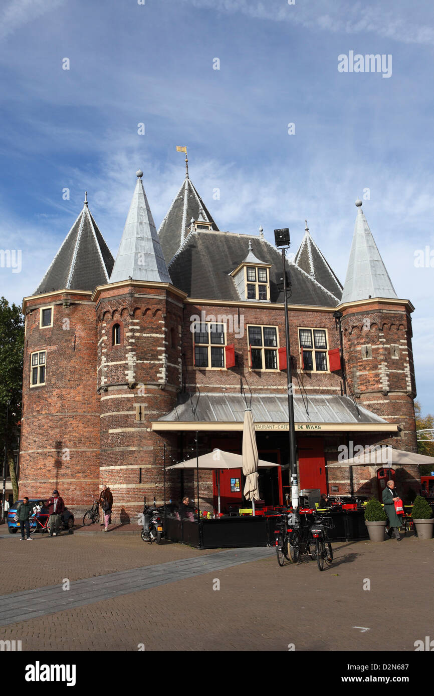 The Waag, a former weighing house, at the Nieuwmarkt (New Market), Red Light District, in Amsterdam, The Netherlands, - Stock Image