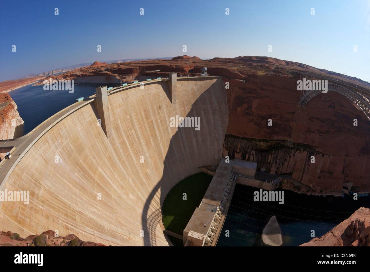 Glen Canyon Dam across the Colorado River, Arizona, United States of America, North America Stock Photo