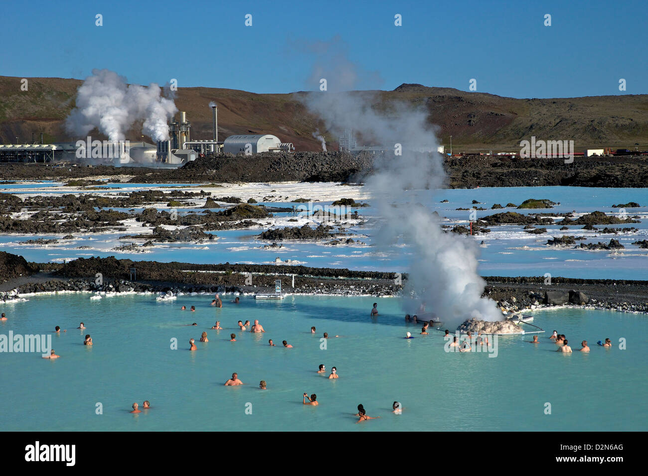 Outdoor geothermal swimming pool and power plant at the Blue Lagoon, Iceland, Polar Regions - Stock Image