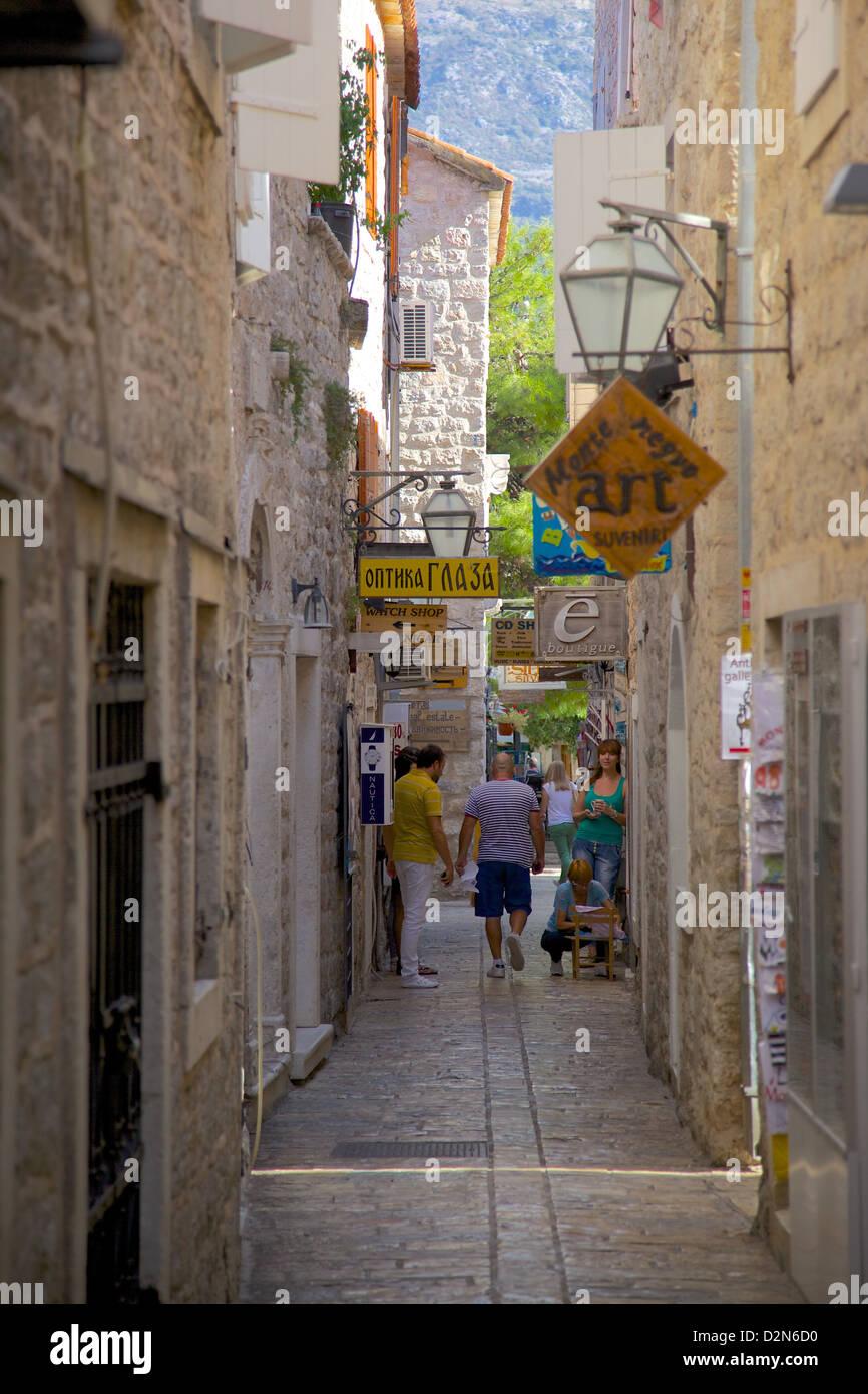 Narrow street in Budva Old Town, Budva, Montenegro, Europe - Stock Image