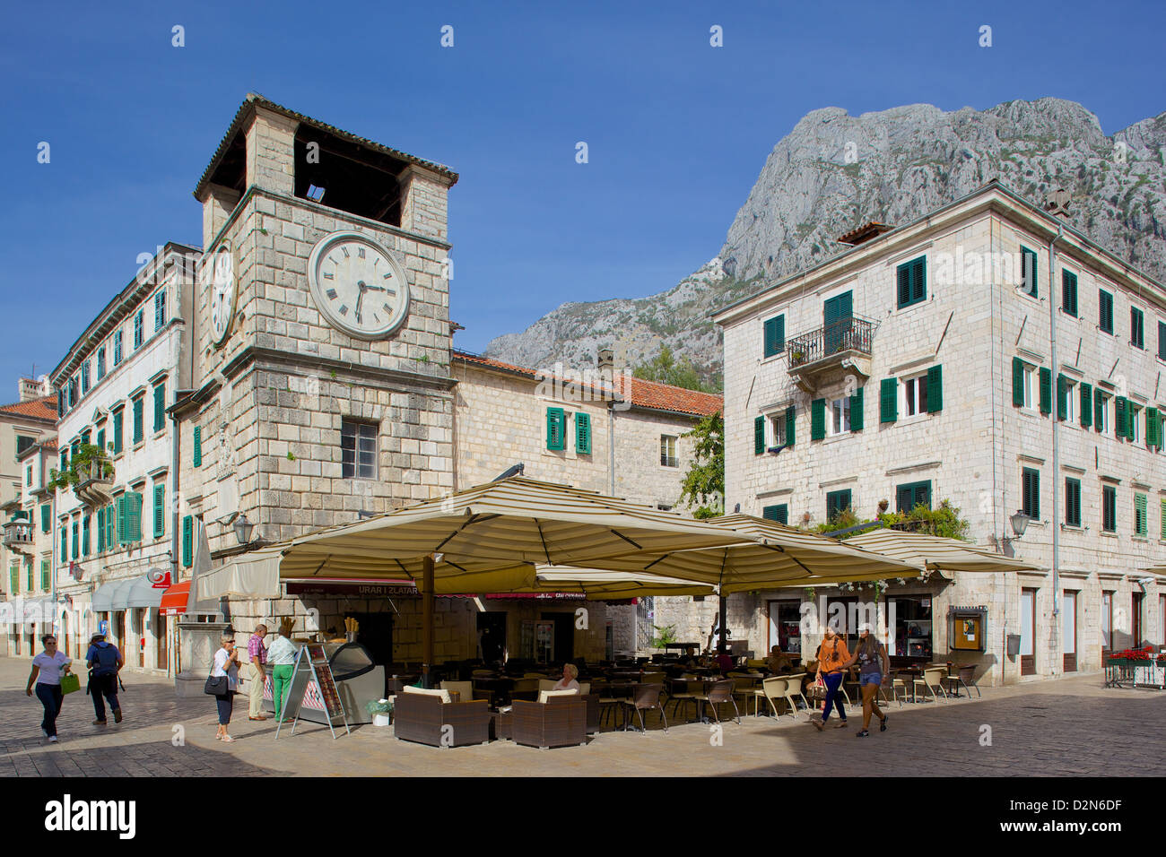 Old Town Clock Tower, Old Town, UNESCO World Heritage Site, Kotor, Montenegro, Europe - Stock Image