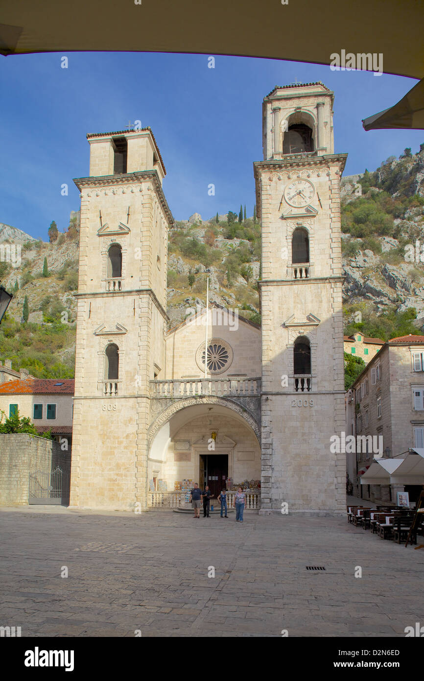 St. Tryphon Cathedral, Old Town, UNESCO World Heritage Site, Kotor, Montenegro, Europe - Stock Image