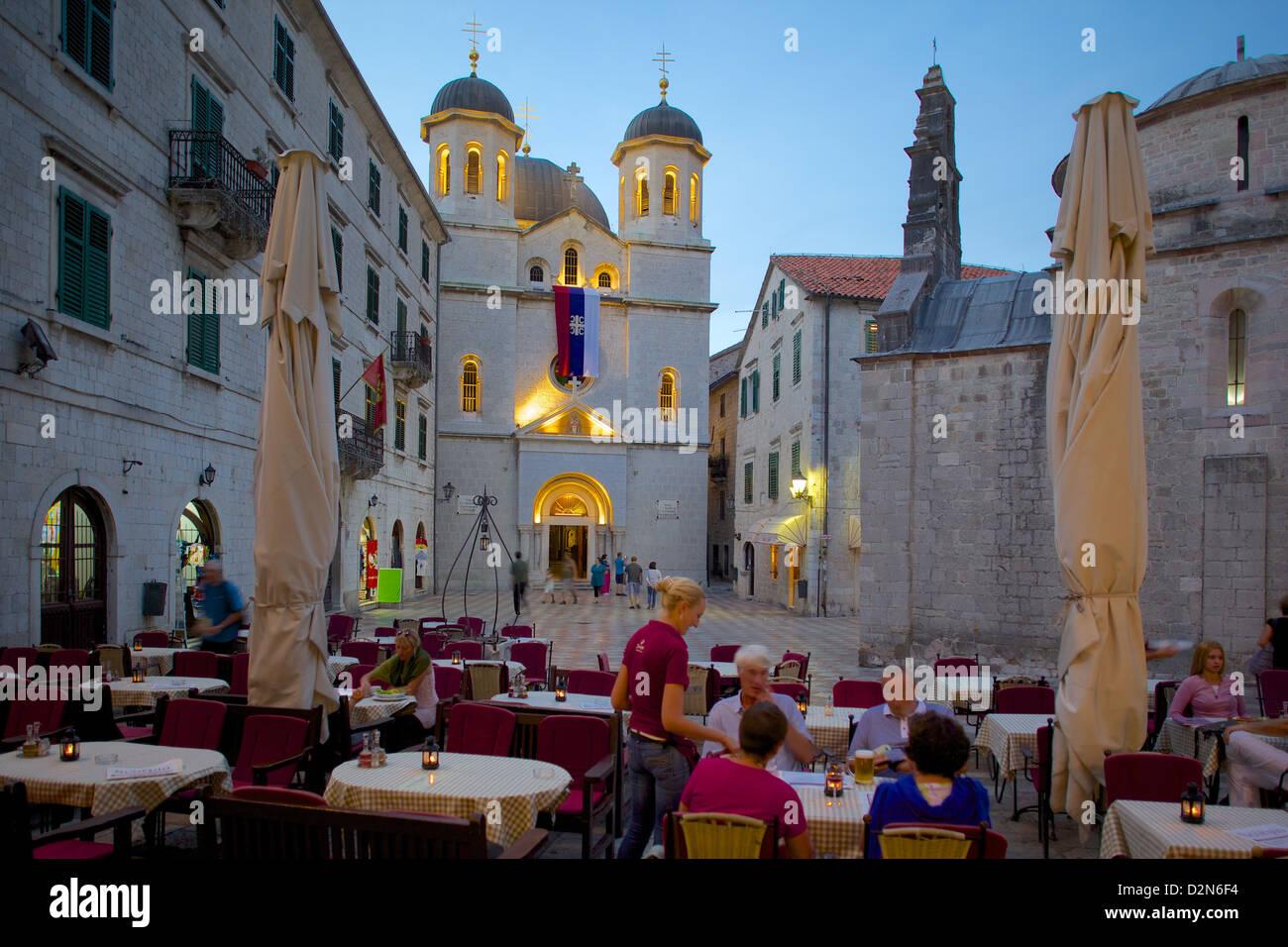 St. Nicholas Serbian Orthodox Church at dusk, Old Town, UNESCO World Heritage Site, Kotor, Montenegro, Europe - Stock Image