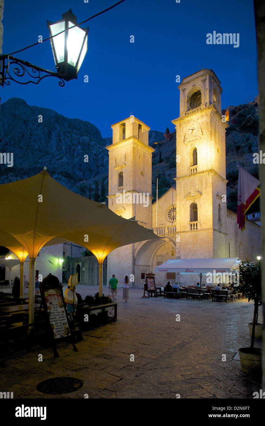 St. Tryphon Cathedral at night, Old Town, UNESCO World Heritage Site, Kotor, Montenegro, Europe - Stock Image