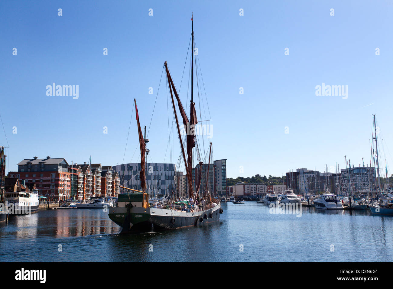 Sailing ship leaving the Quayside at Ipswich Marina, Ipswich, Suffolk, England, United Kingdom, Europe - Stock Image