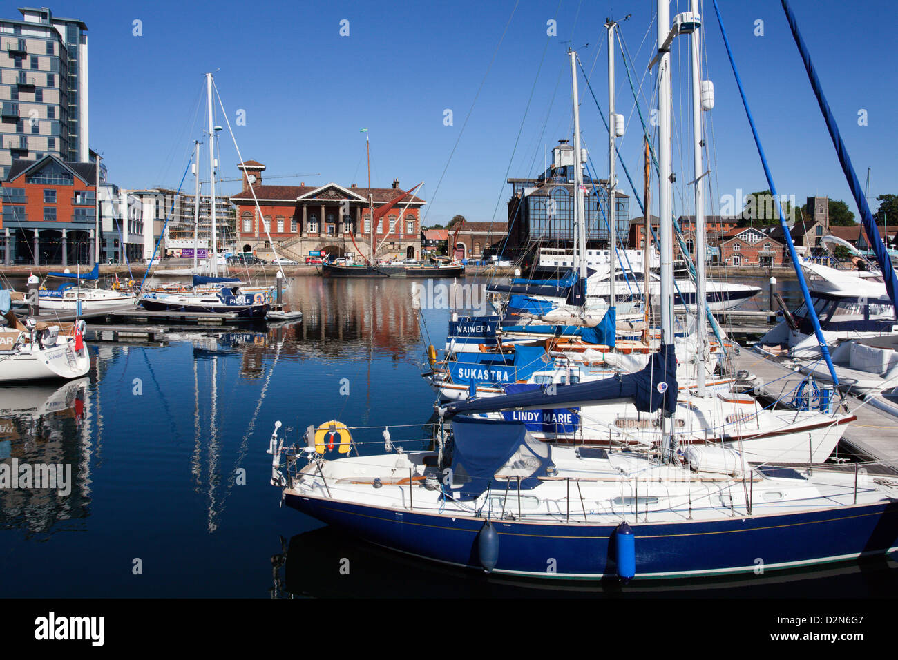 Yachts at Ipswich Haven Marina and the Old Custom House, Ipswich, Suffolk, England, United Kingdom, Europe - Stock Image