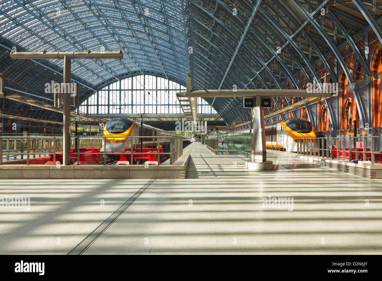 Two Eurostar trains await departure at St. Pancras International, London, England, United Kingdom, Europe Stock Photo