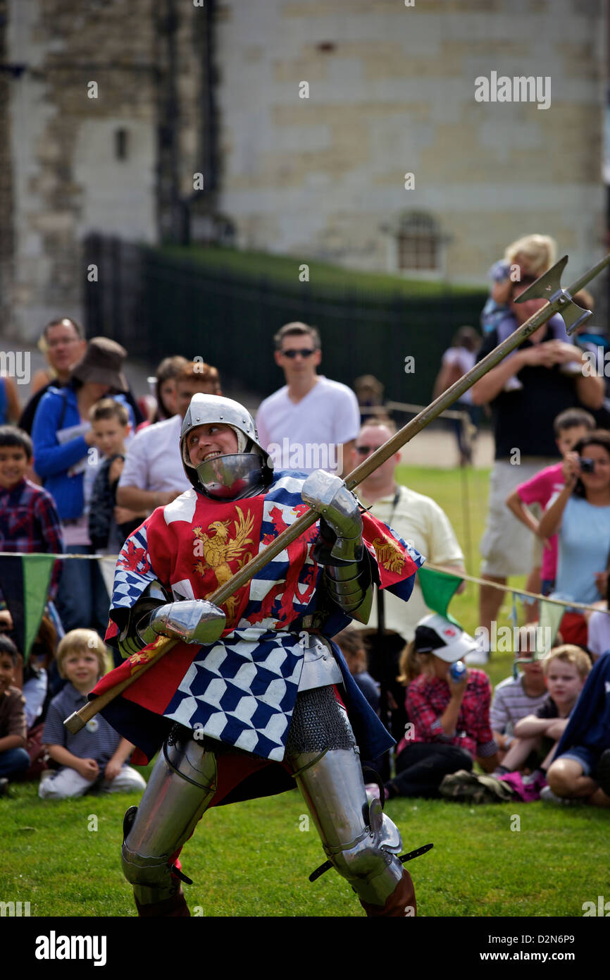 Reenactment of a knight's fight in the Tower of London, England, United Kingdom, Europe - Stock Image