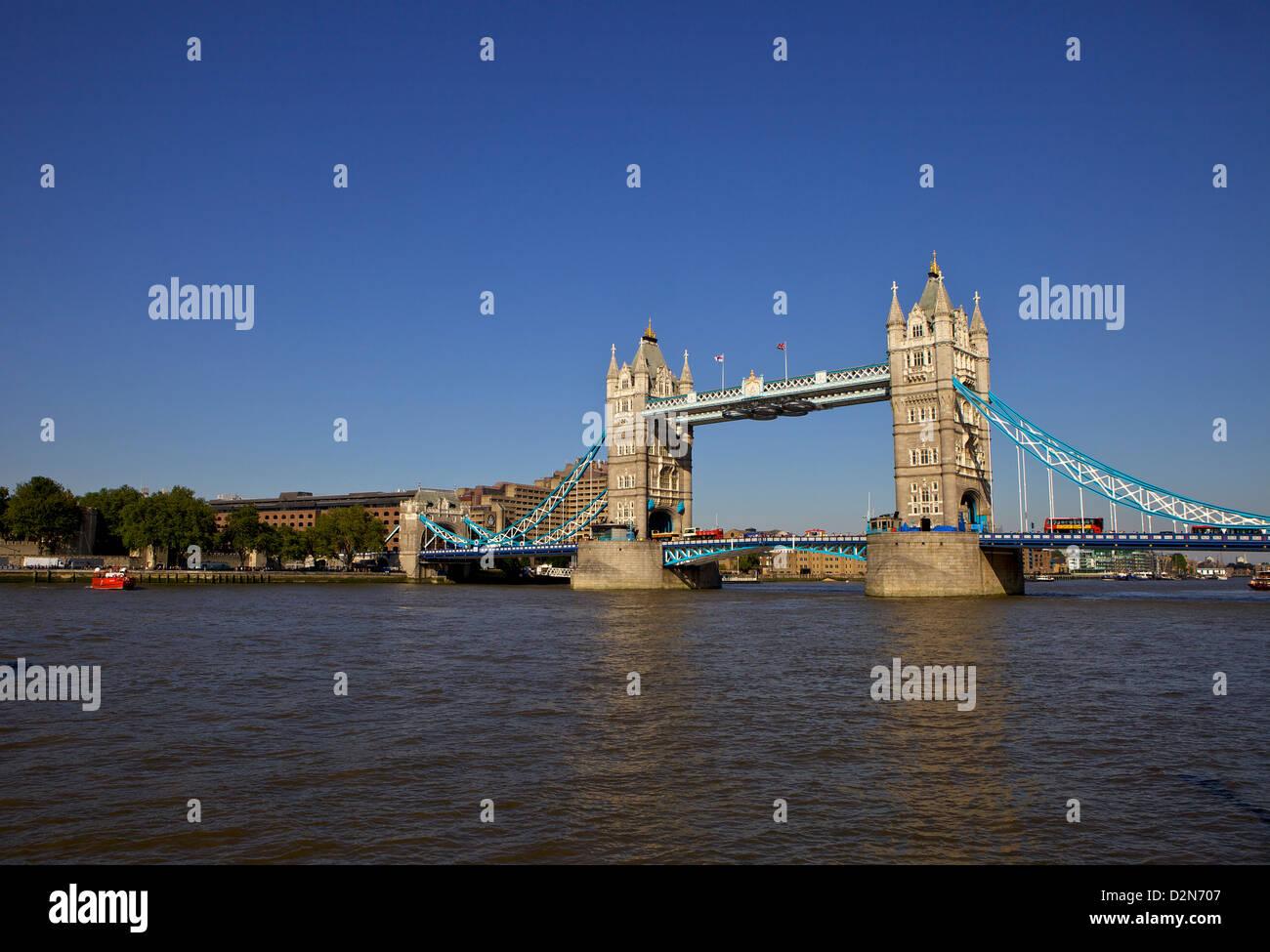 Tower Bridge and the River Thames, London, England United Kingdom, Europe - Stock Image