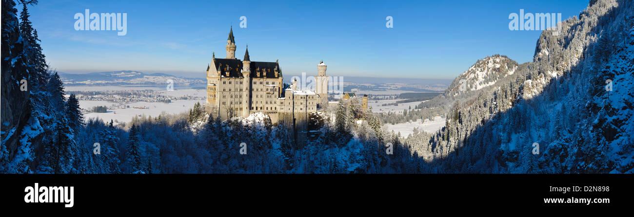 landmark castle Neuschwanstein in Bavaria, Germany - Stock Image