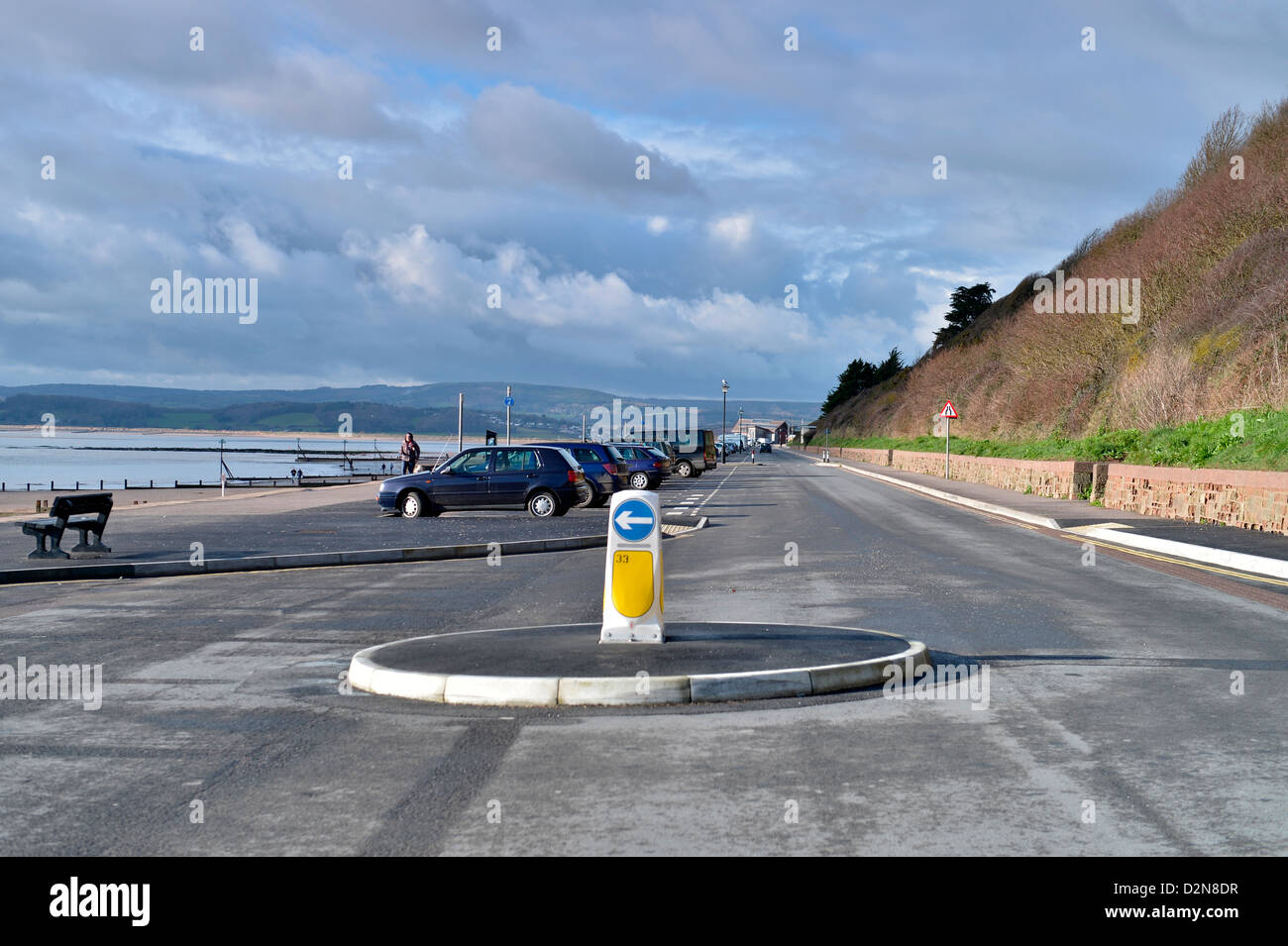 A view of Exmouth beach looking at Queens Drive from Orcombe Point - Devon, UK - Stock Image