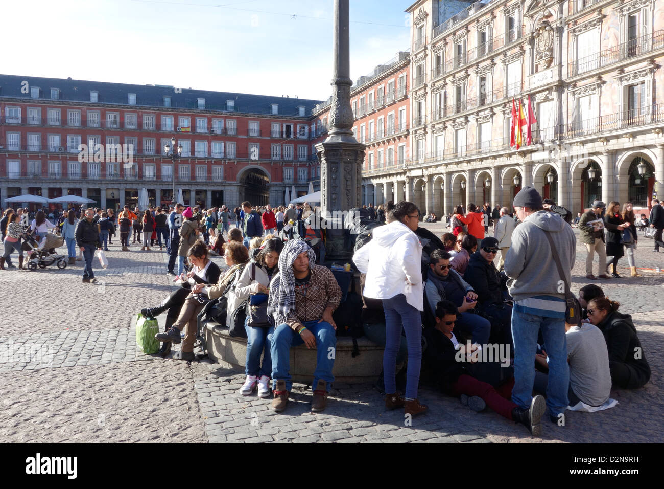 madrid spain plaza mayor kids people traveller traveler - Stock Image