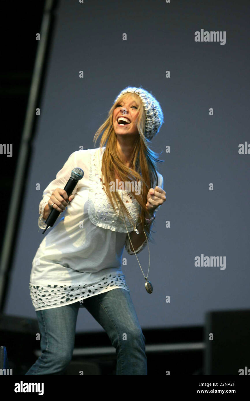 Former Atomic Kitten singer Liz McClarnon performing at Cyfarthfa Castle, supporting Donny Osmond. - Stock Image