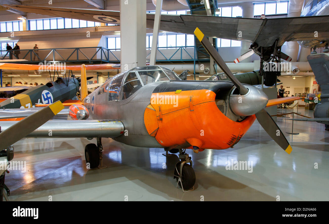 Saab 91D Safir trainer aircraft in Central Finland Museum of Aviation. - Stock Image