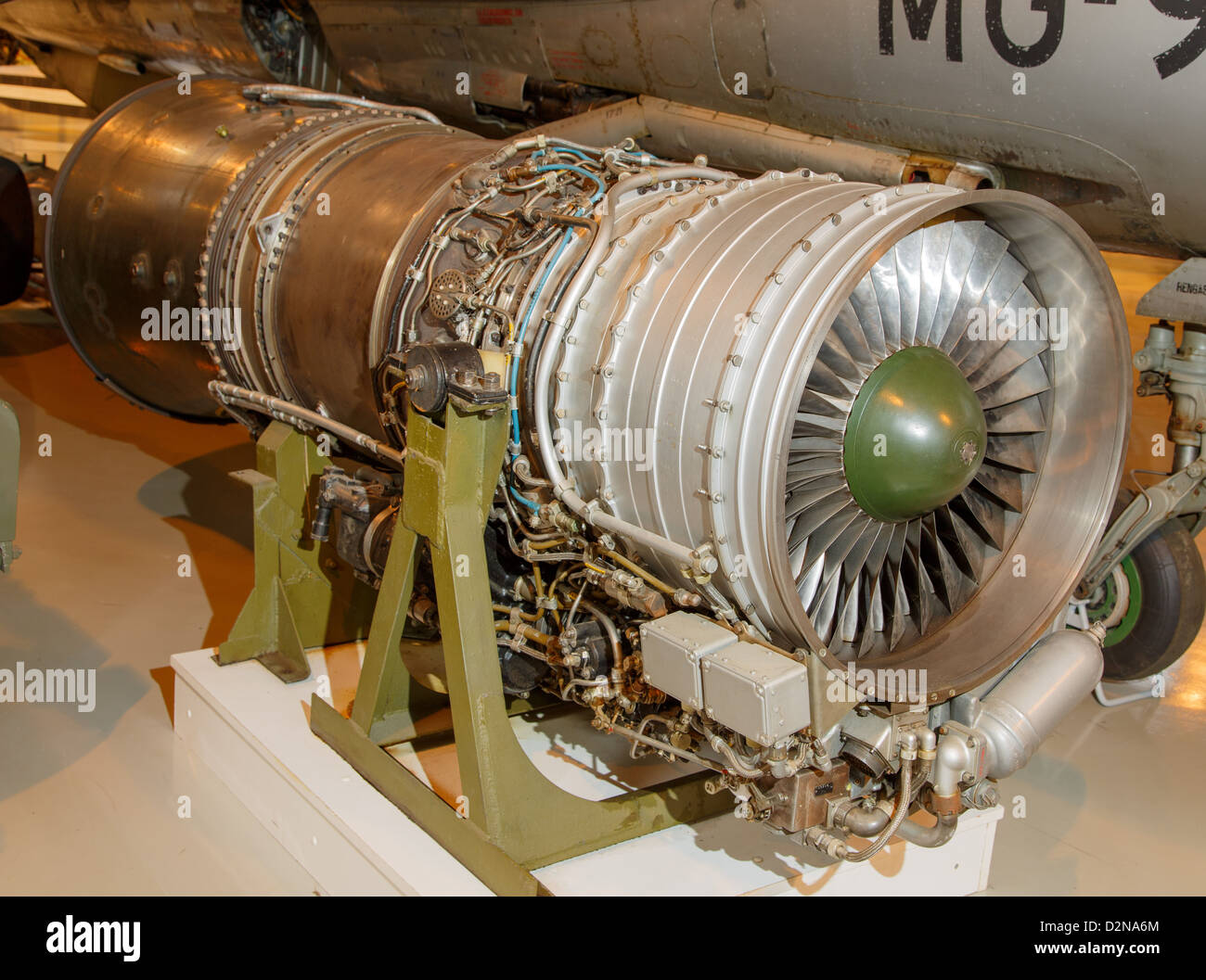 Tumansky R-11 turbojet engine, the power plant of the MiG-21 jet fighter, on display at Central Finland Aviation Stock Photo