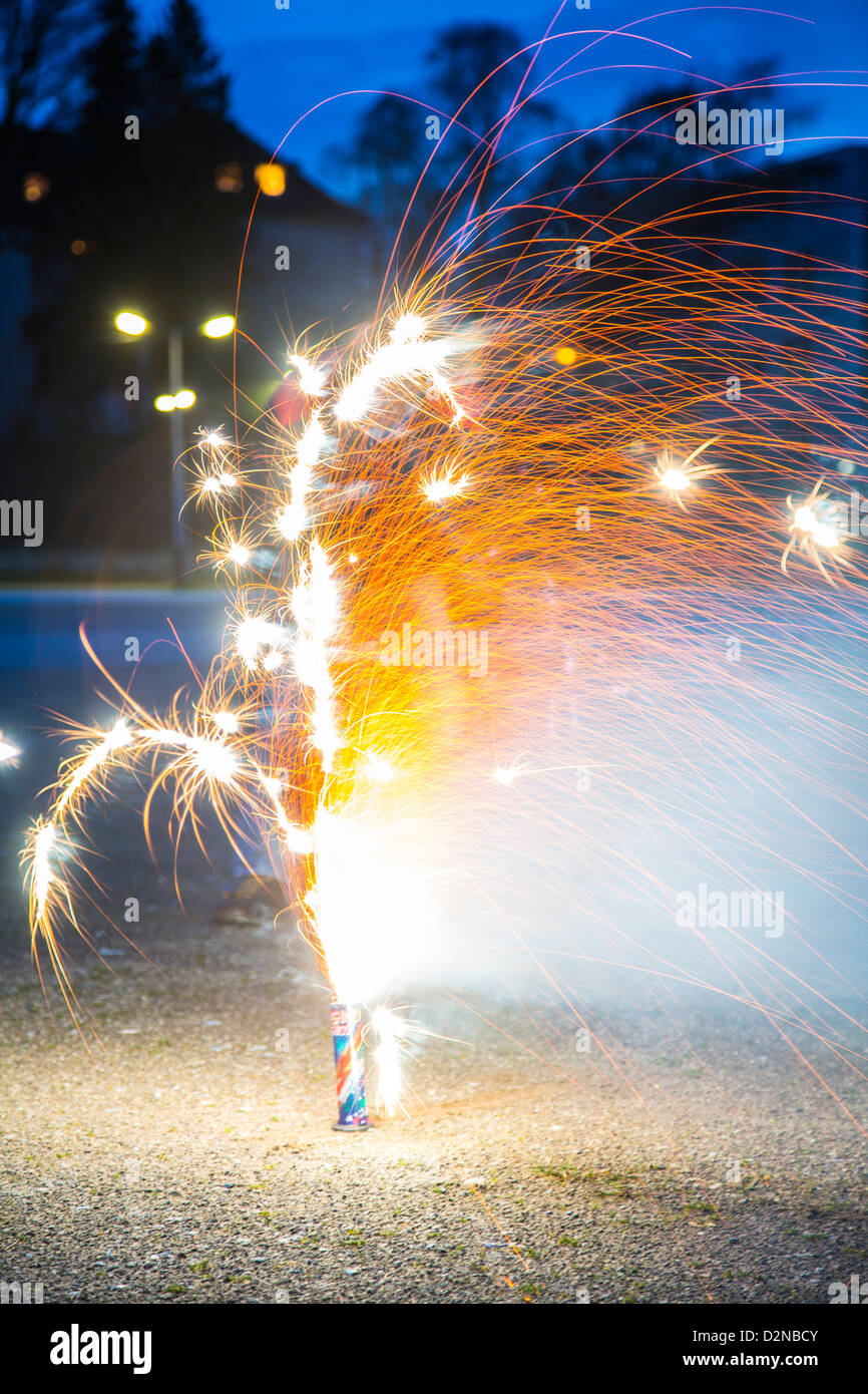 Fireworks, light fountains. Pyrotechnics. - Stock Image