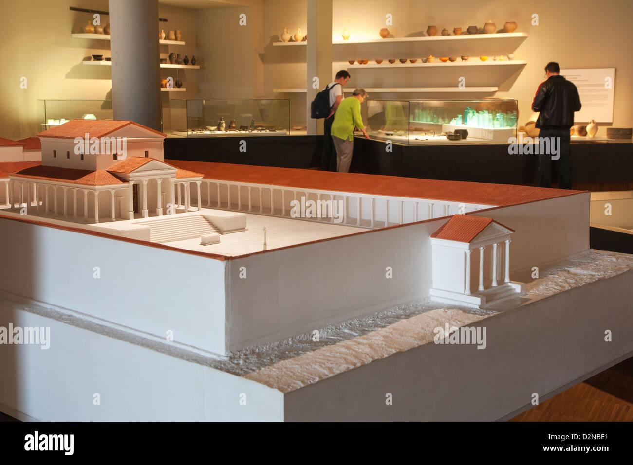 Replica of Roman temple complex at the Gallo-Roman Museum at Tongeren, Belgium - Stock Image