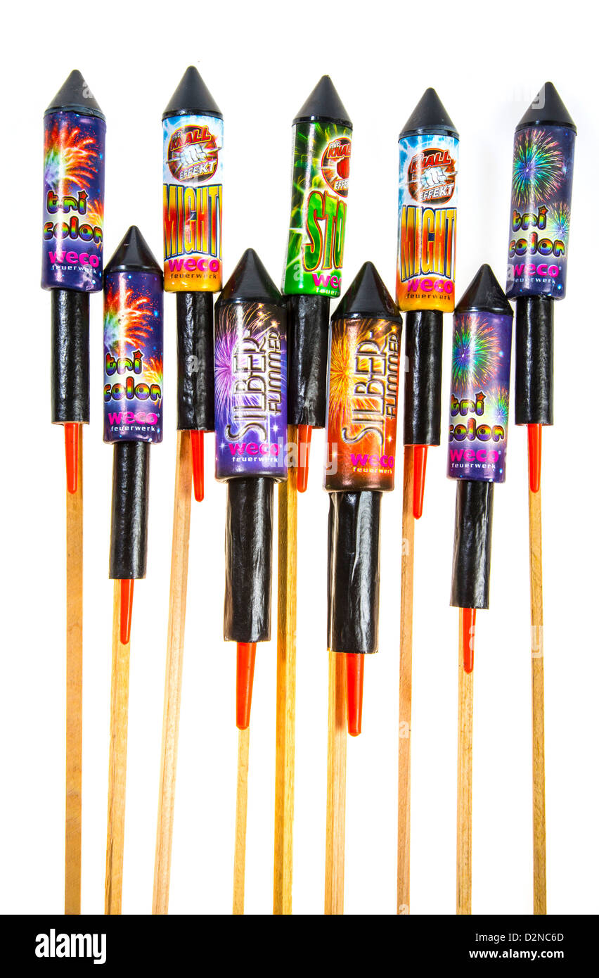 Different types of firework rockets, missiles. - Stock Image
