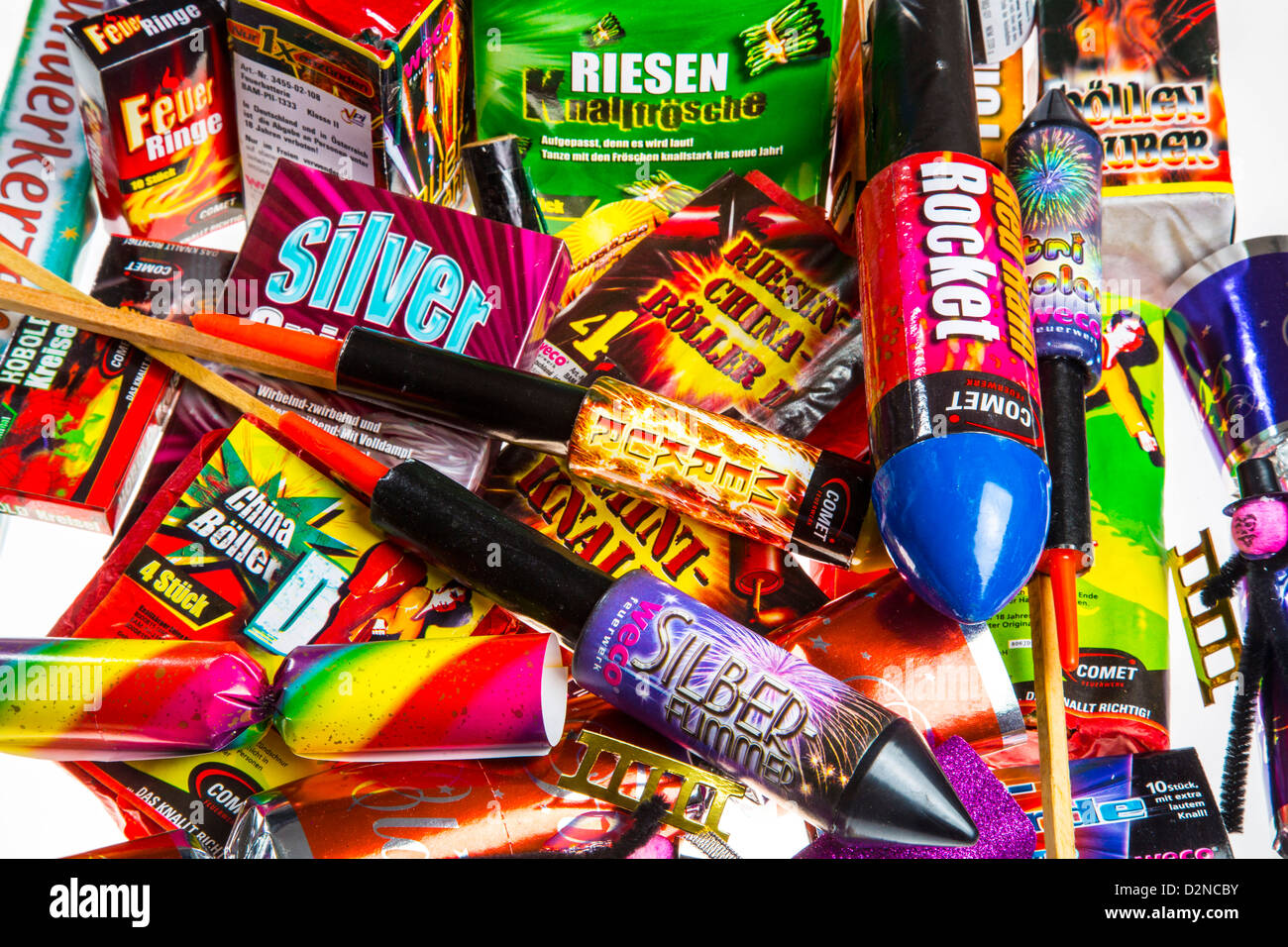 Different types of fireworks. - Stock Image