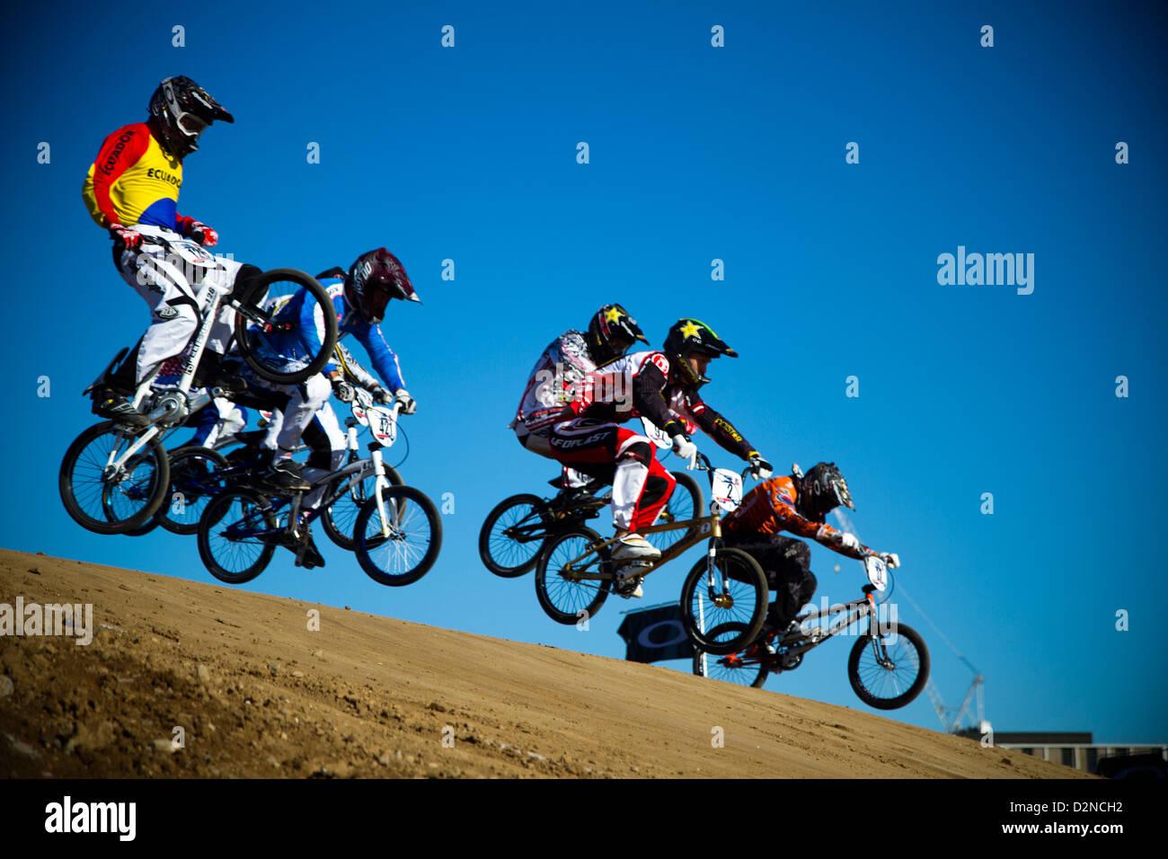 bmx race at olympics park london - Stock Image