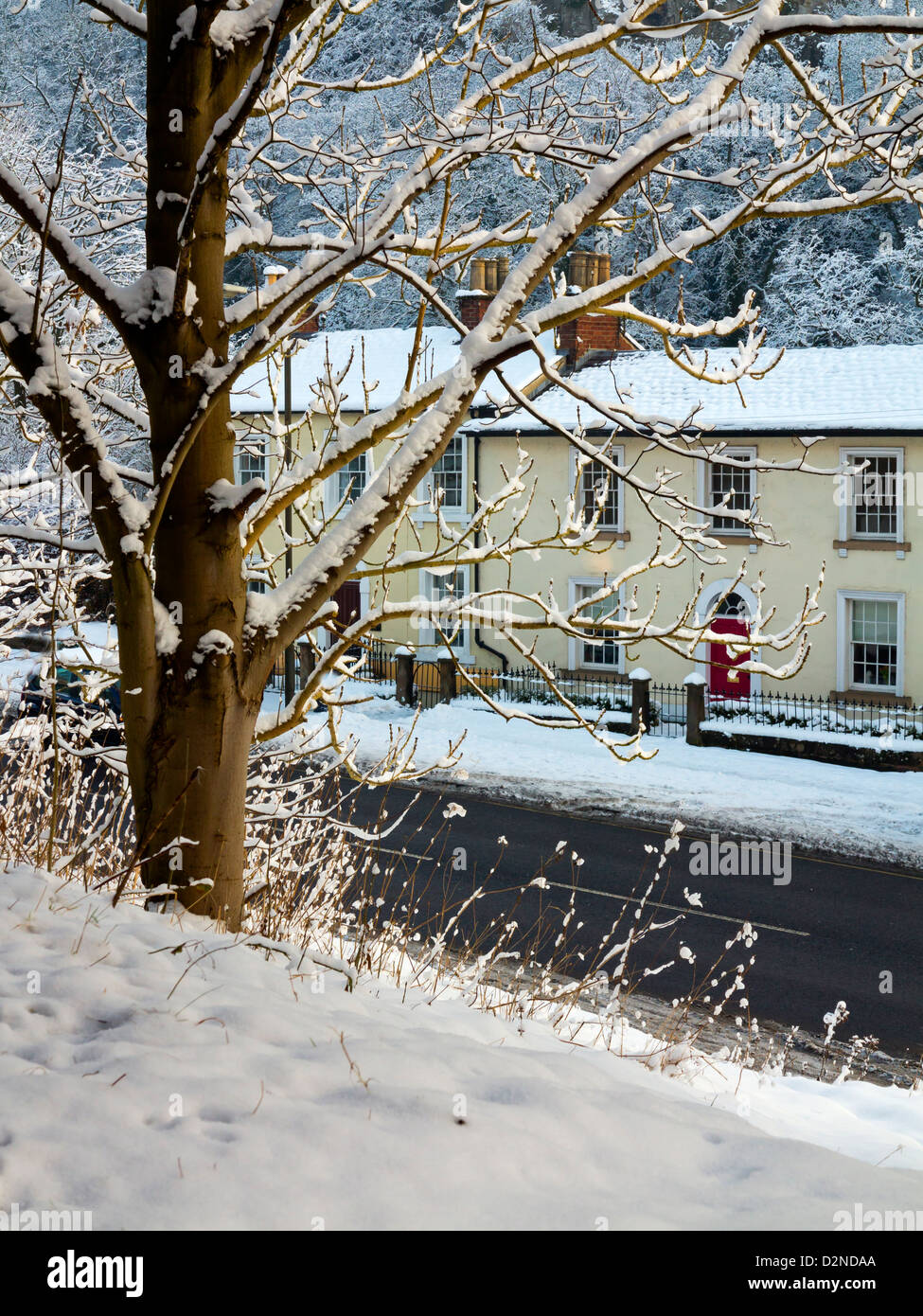 Prime Snow Covered Tree And Traditional Cottages In Matlock Bath A Interior Design Ideas Gentotryabchikinfo