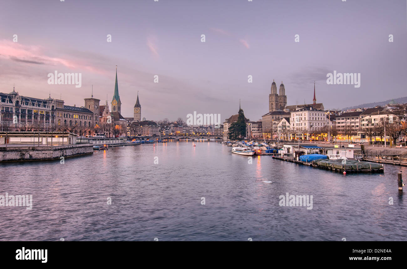 Zurich city center viewed from the river at dusk. Switzerland. - Stock Image