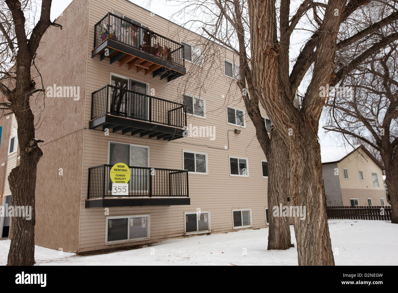 residential suites apartment block pleasant hill Saskatoon Saskatchewan Canada - Stock Image