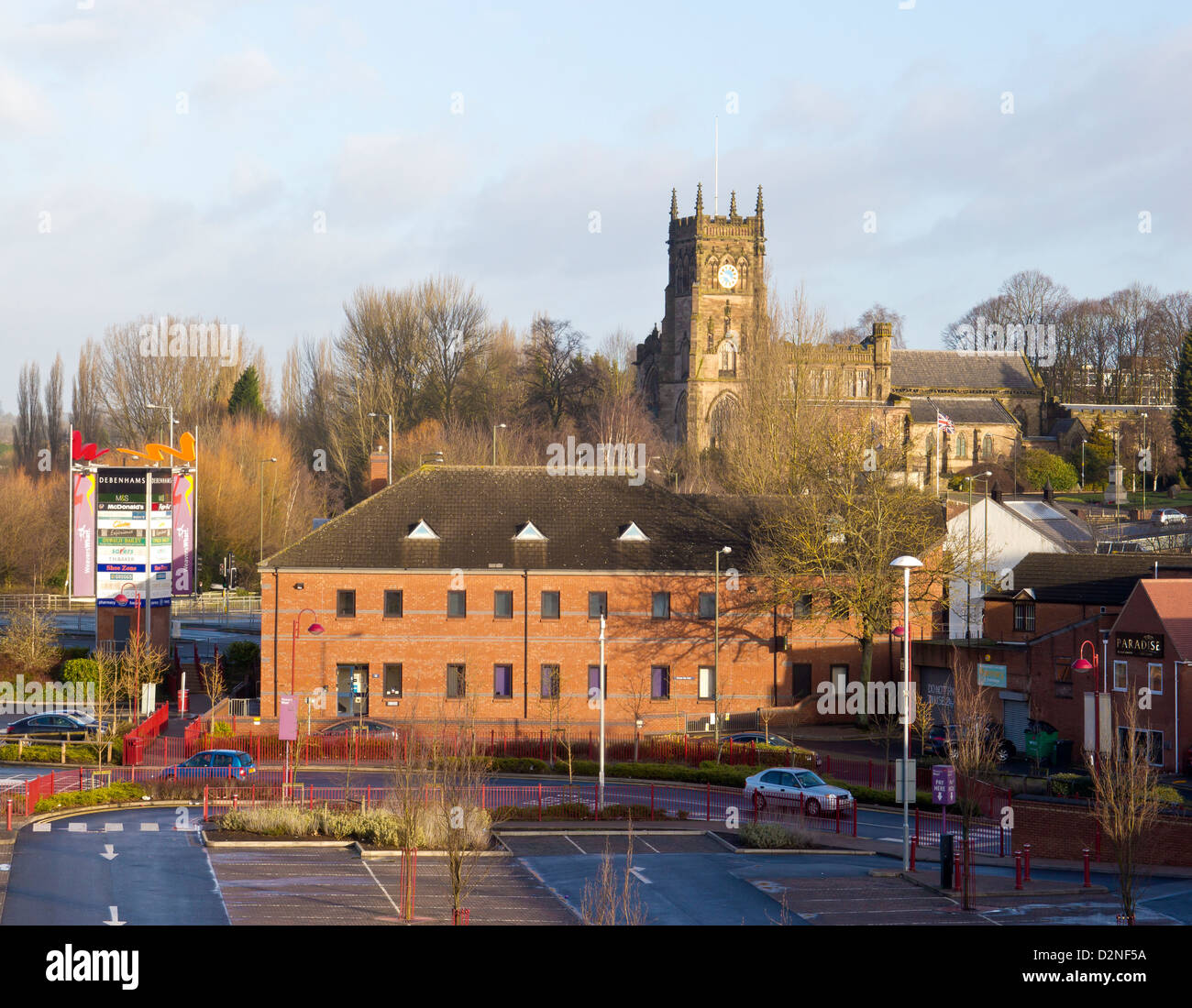 Kidderminster England St Marys and All Saints Church.  Old and New - Stock Image