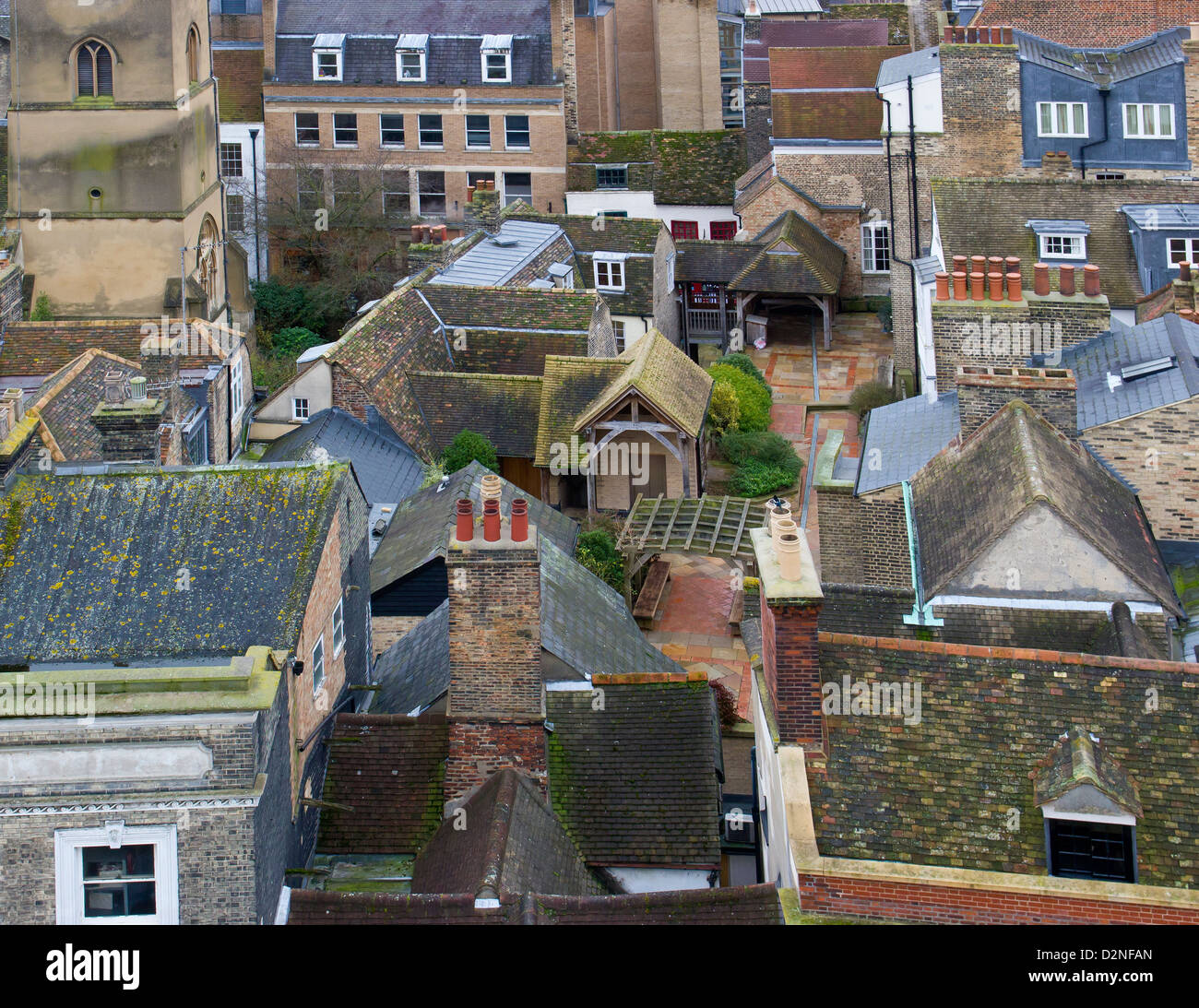 Cambridge England  View of the rooftops and courtyards - Stock Image