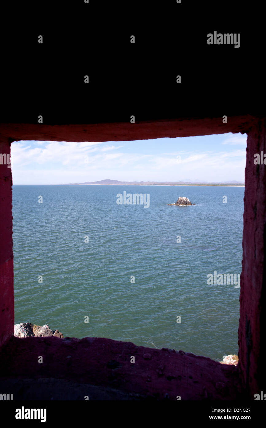 Ocean view from a window in Mazatlan, Mexico Stock Photo