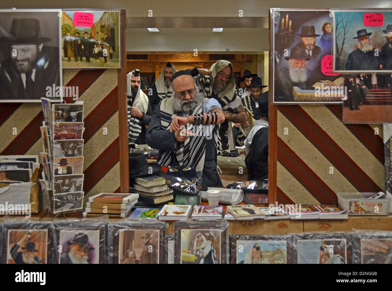 Framed by photos for sale of the Rebbe, a man putting on teffilin at morning services at Lubavitch headquarters - Stock Image