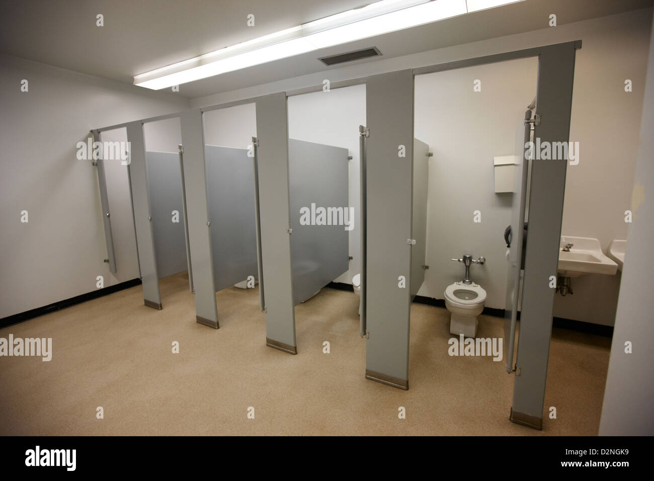 Cubicle Toilet Stalls In Womens Bathroom In A High School
