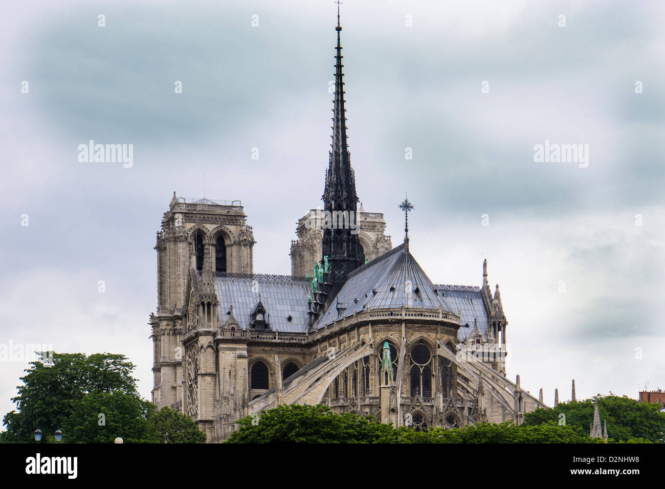 Notre Dame Cathedral in Paris France - Stock Image