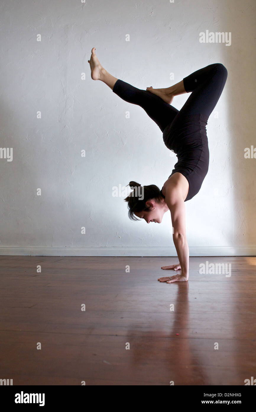 Anusara Yoga Instructor Sachie Alessio Does A Scorpion Pose Stock Photo Alamy