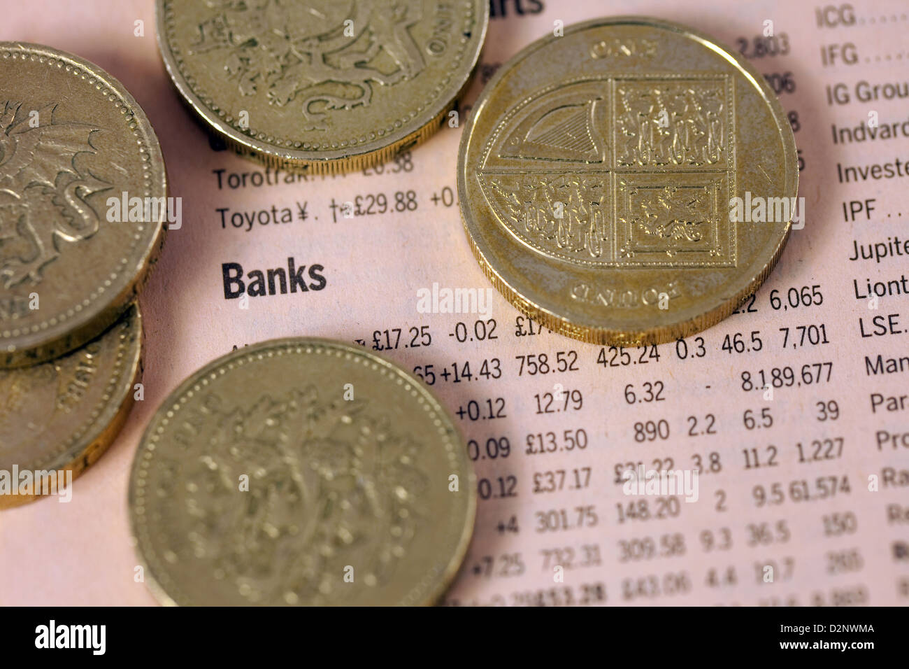 Banks - listing of stocks and shares values in the Financial Times newspaper, with pound coins, UK - Stock Image