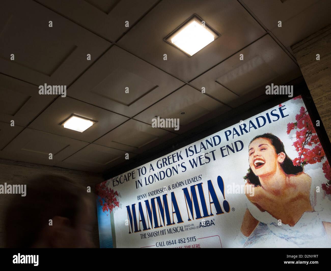 mamma Mia! poster in london underground - Stock Image