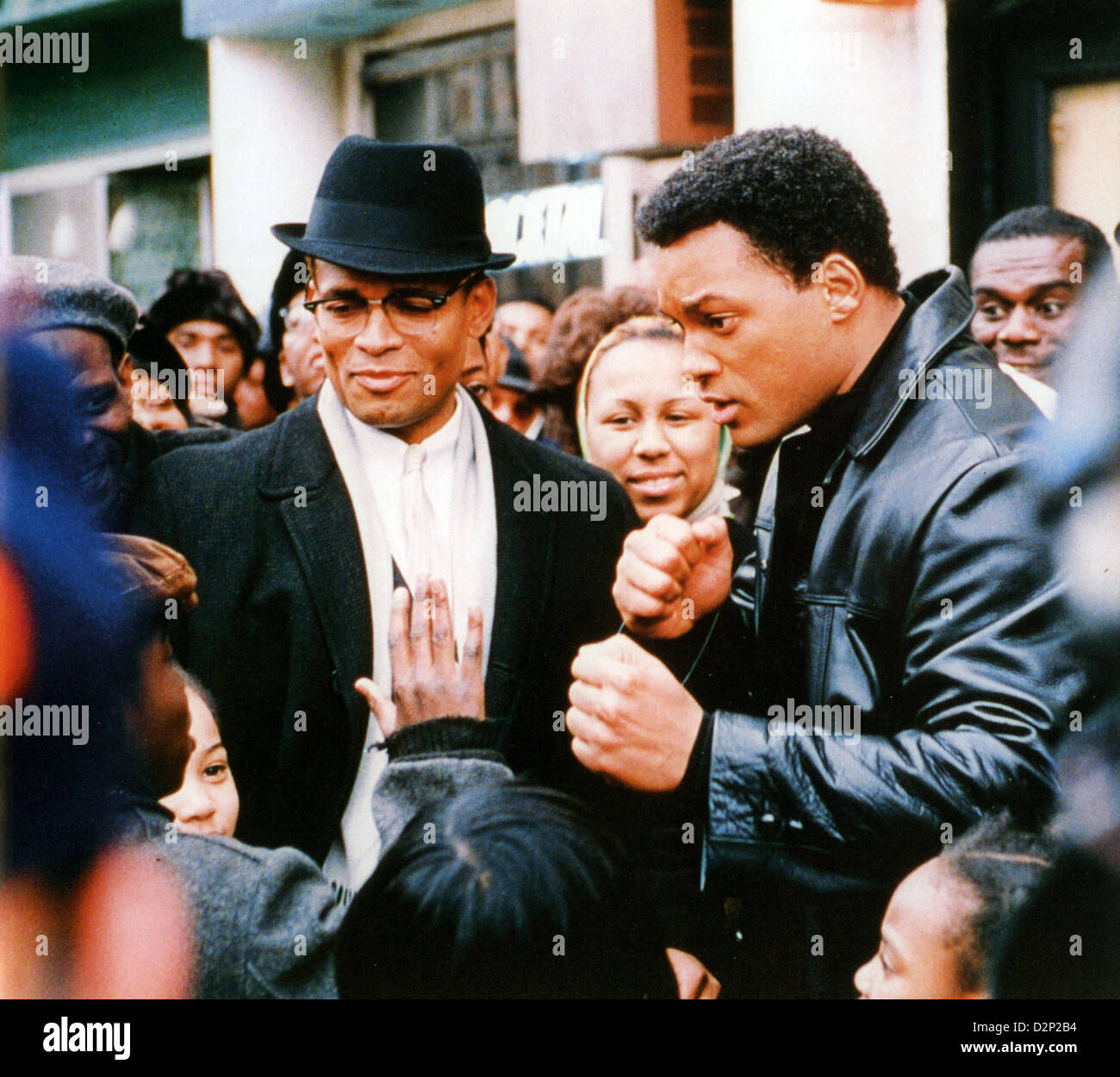 ALI 2001 Columbia Pictures film with Will Smith as boxer Muhammad Ali and Mario Van Peebles as Malcolm X - Stock Image