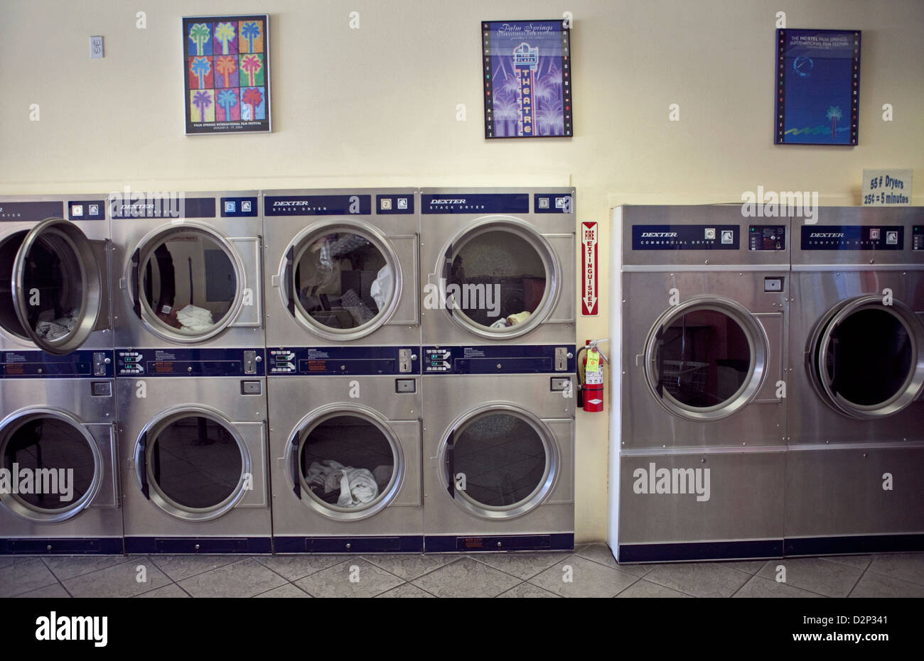 INSIDE A LAUNDROMAT IN PALM SPRINGS, CA, USA, OCT 2010 - Stock Image